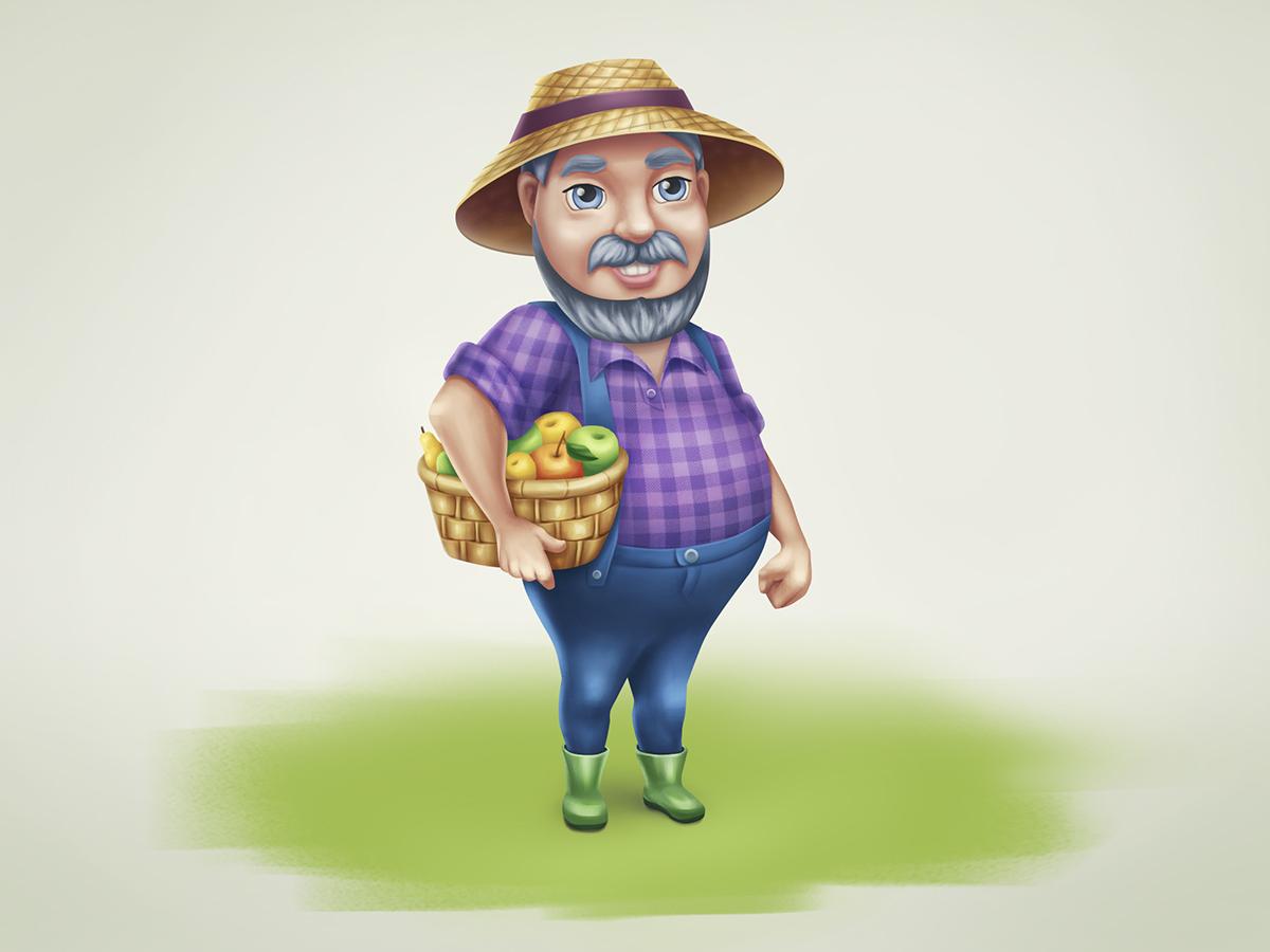 Art character design Farmer Phil keeps a basket of fruit by artist Alice Croft Фермер Фил с корзиной фруктов дизайн персонажа