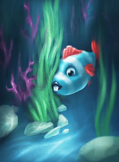 Illustration Fish with red fins in algae underwater by artist Alice Croft Рыбка с красными плавниками в водорослях возле морского дна под водой