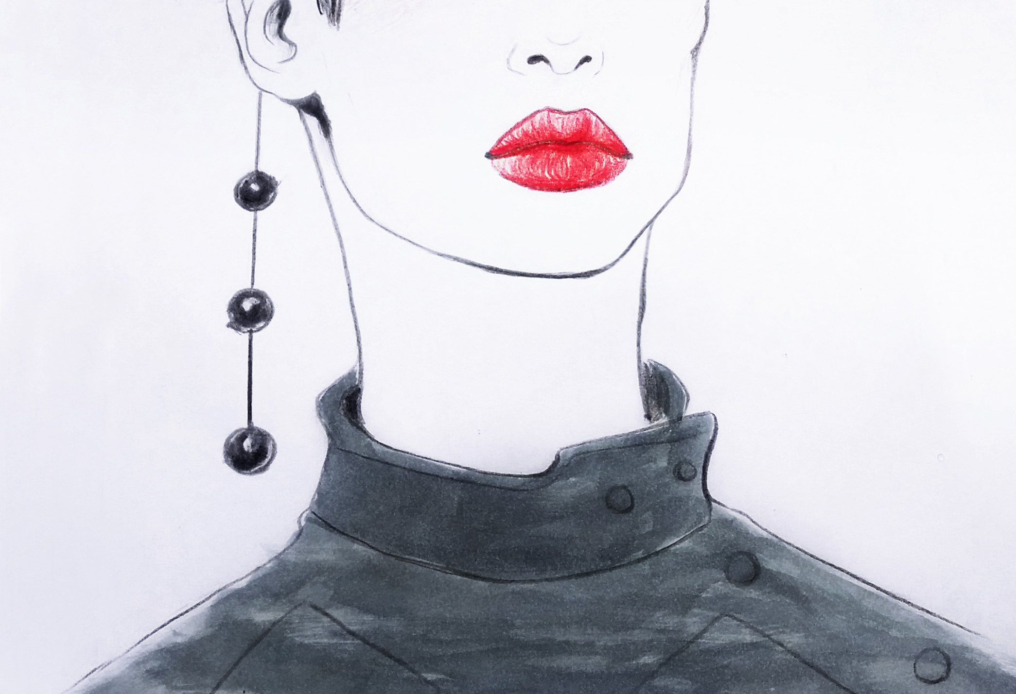 Fashion illustration Girl with red lips art by artist Alice Croft Рисунок Девушка с красными губами