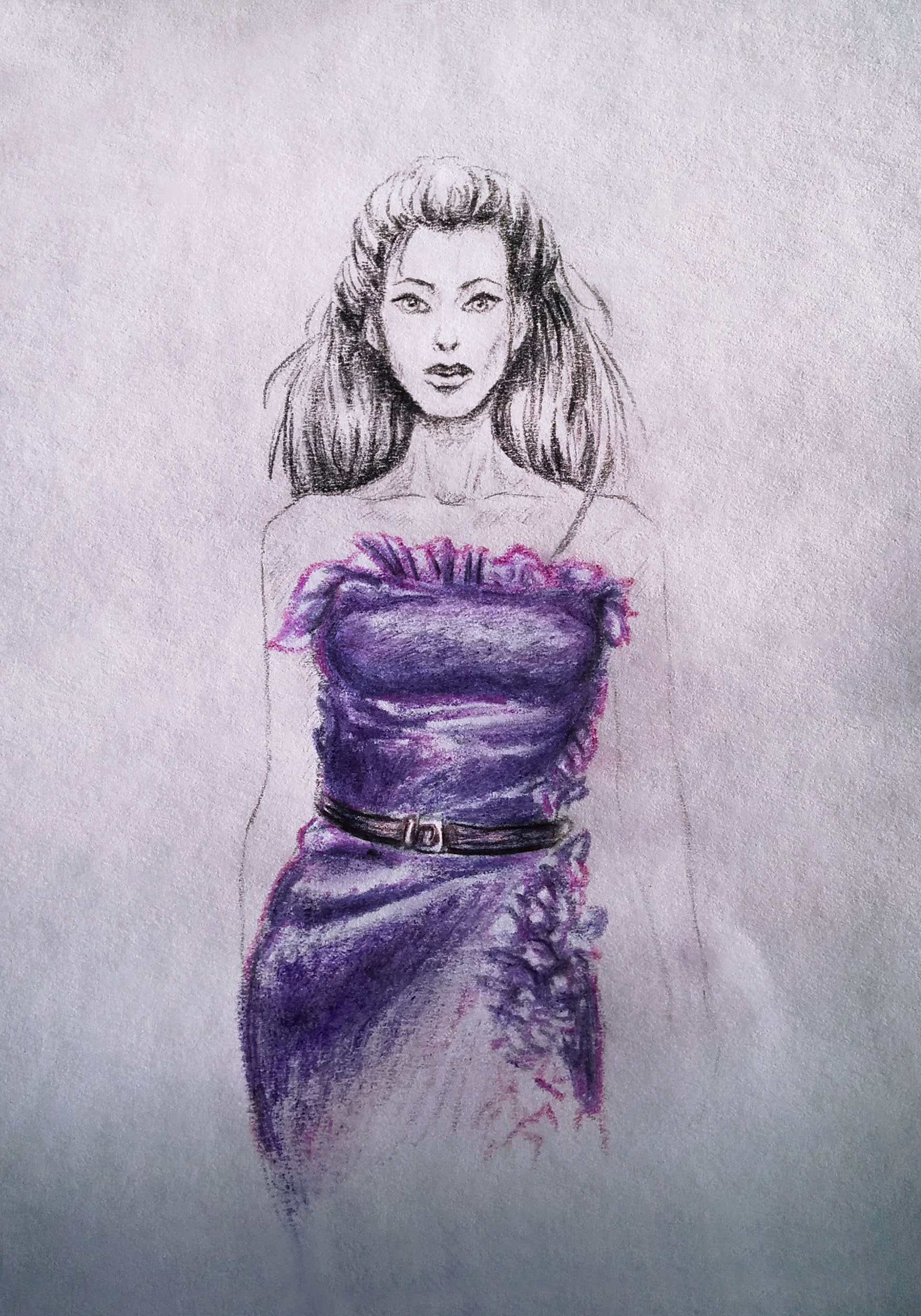 Fashion illustration Girl in lilac dress art by artist Alice Croft Рисунок Девушка в лиловом платье
