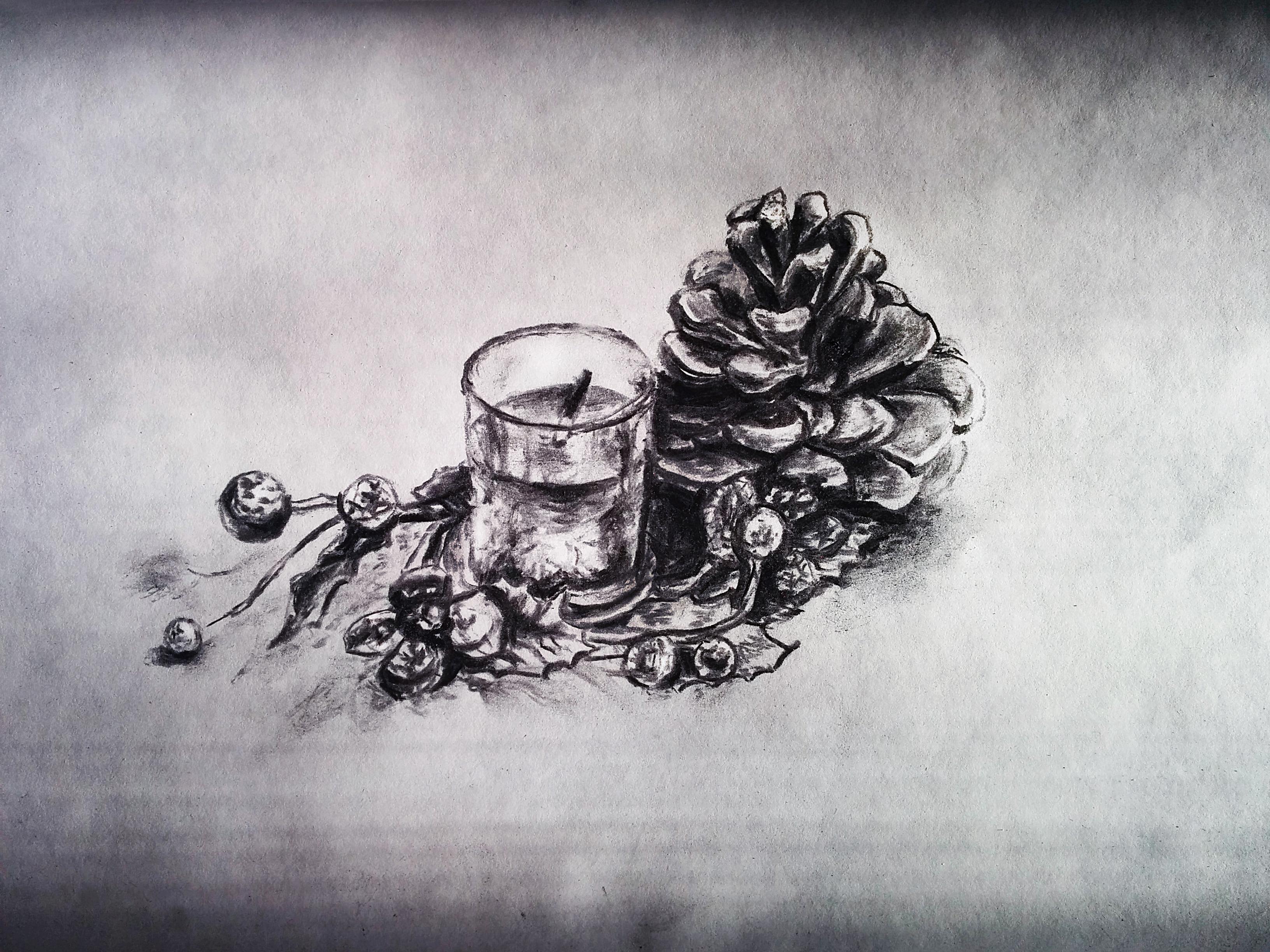 New Year's still life coal art by artist Alice Croft Новогодний натюрморт углем шишка и свеча