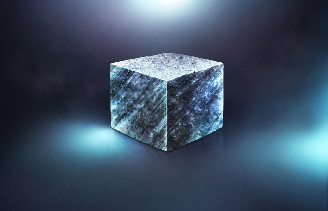Art material stone cube by artist Alice Croft Куб из материала камень