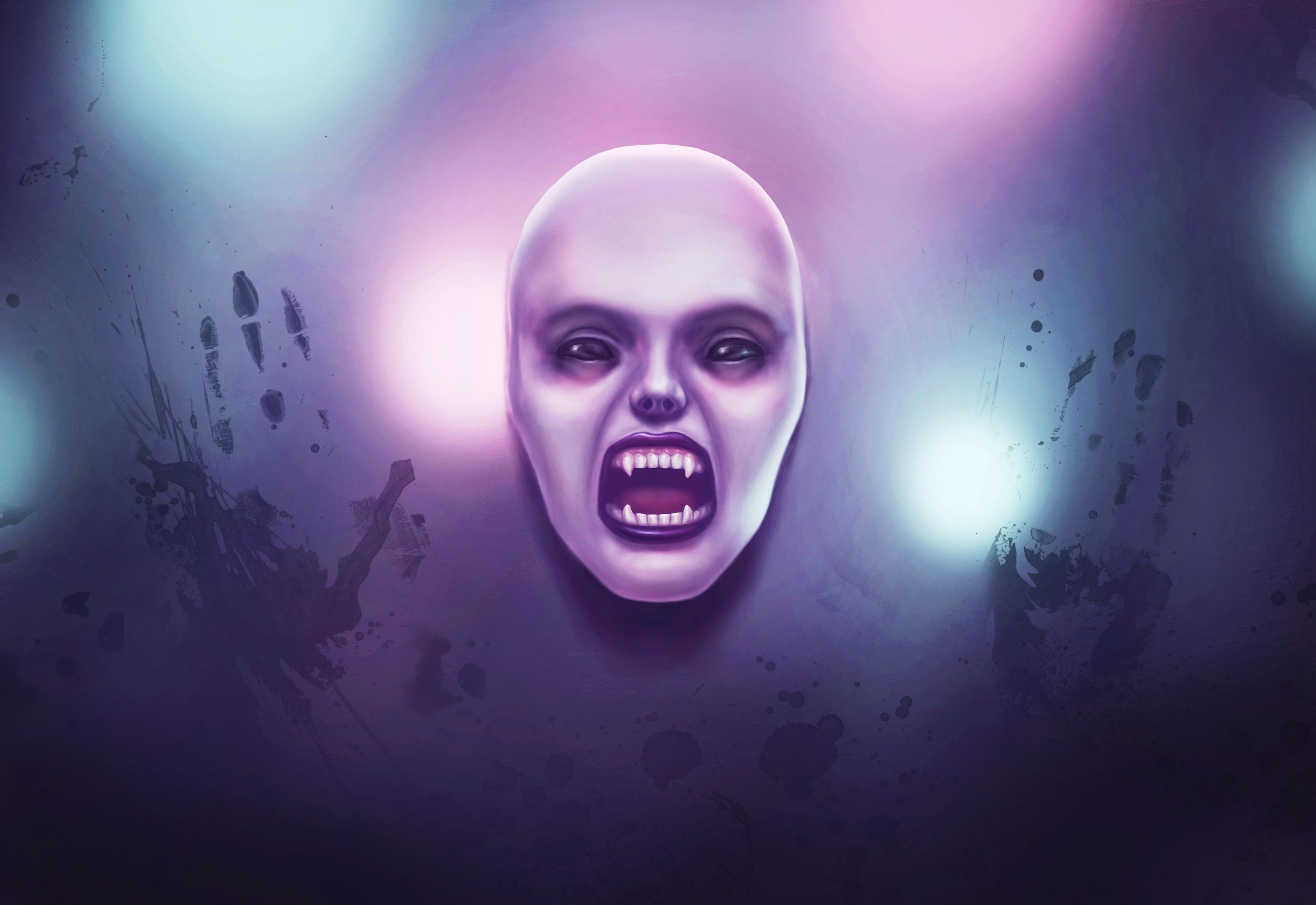 Illustration Vampire Gir art by artist Alice Crof Иллюстрация девушка вампир пролазит сквозь стену из запотевшего стекла