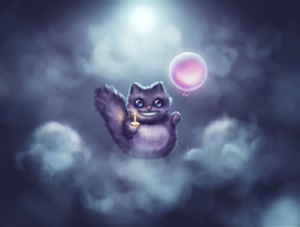 Art character design and illustration Cheshire Cat by artist Alice Croft Чеширский кот дизайн персонажа и иллюстрация
