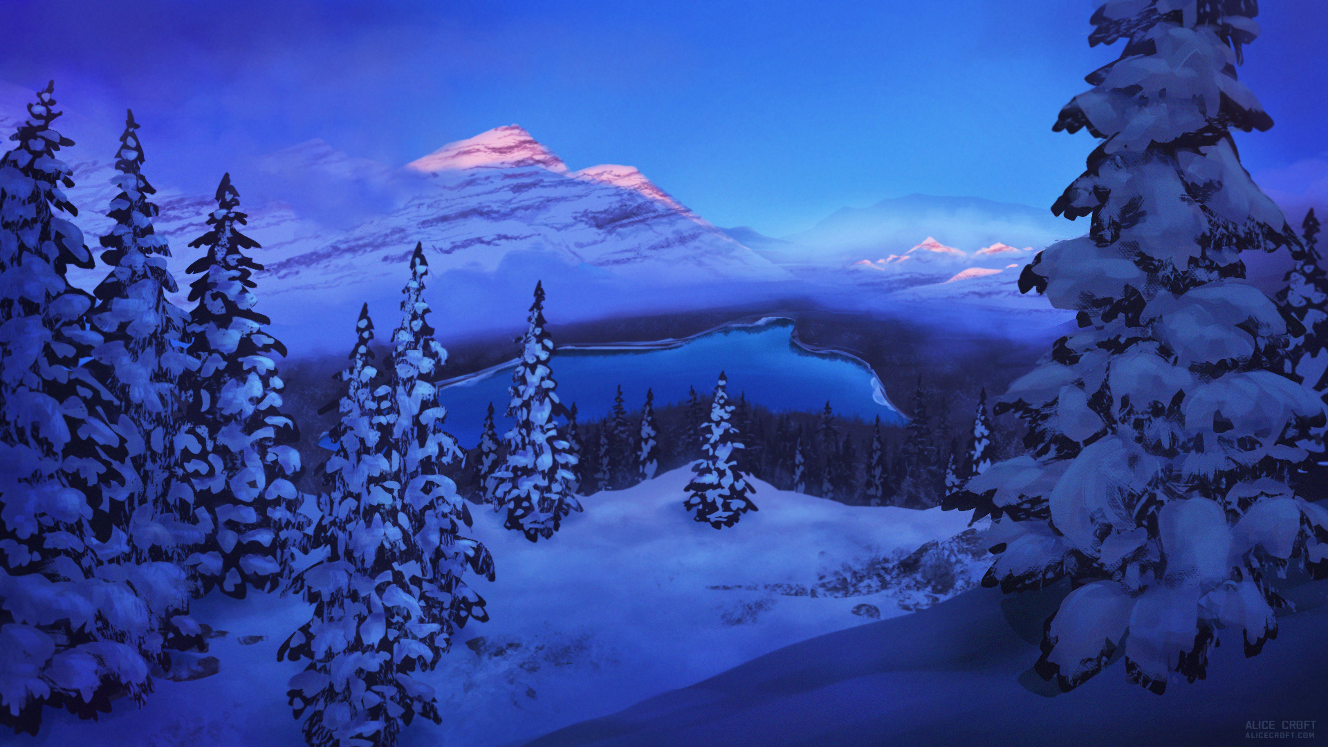 Art-environment Winter lake snow mountains Landscape spruce Sunrise by artist Alice Croft Зима озеро горы ёлки снег рассвет