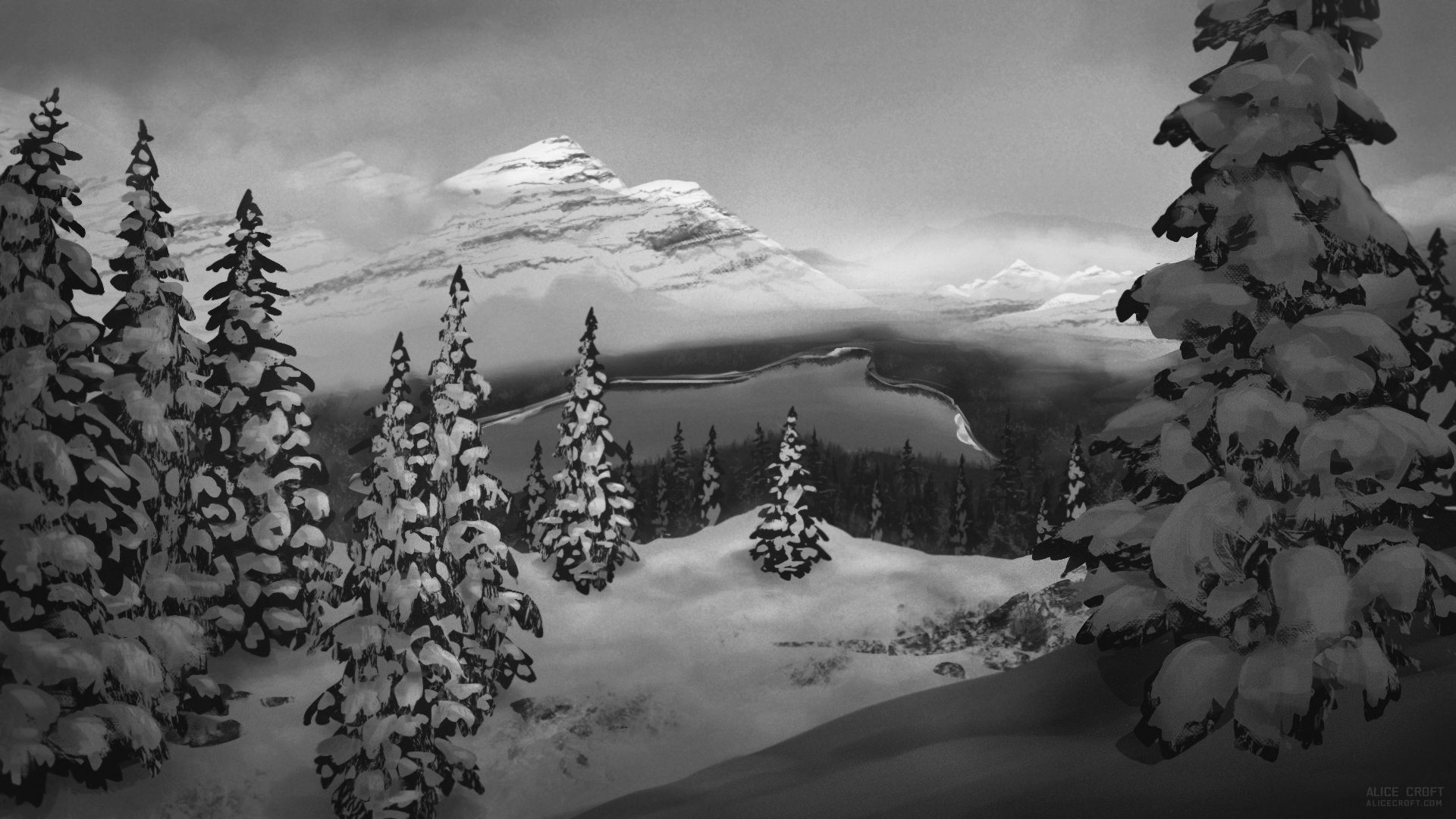 Black and white Art-environment Winter lake snow mountains Landscape spruce Sunrise by artist Alice Croft Зима озеро горы ёлки снег рассвет черно-белый